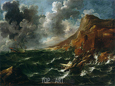 Ships in a Gale, c.1705/08   Marco Ricci   Gemälde Reproduktion