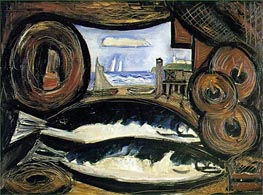 New England Sea View - Fish House, 1934 by Marsden Hartley | Painting Reproduction