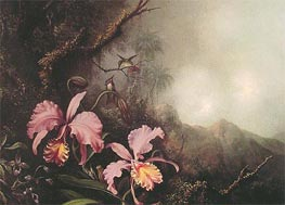 Two Orchids in a Mountain Landscape | Martin Johnson Heade | Painting Reproduction