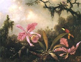 Orchids and Crimson Topaz Hummingbird, 1871 by Martin Johnson Heade | Painting Reproduction