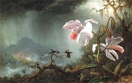 Two Fighting Hummingbirds with Two Orchids, 1875 by Martin Johnson Heade | Painting Reproduction