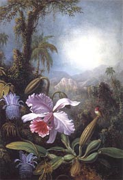 Orchids, Passion Flowers and Hummingbird, c.1875/90 by Martin Johnson Heade | Painting Reproduction