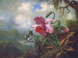 Orchid and Hummingbirds near a Mountain Lake, c.1875/90 by Martin Johnson Heade | Painting Reproduction