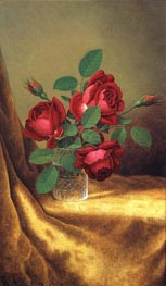 Red Roses in a Crystal Goblet, c.1883/00 by Martin Johnson Heade | Painting Reproduction