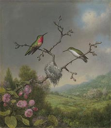 Hummingbirds and Apple Blossoms, c.1865 by Martin Johnson Heade | Painting Reproduction