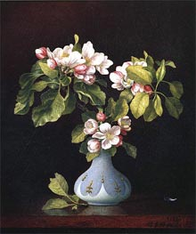 Apple Blossoms in a Vase, 1867 by Martin Johnson Heade | Painting Reproduction