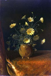 Yellow Daisies in a Brown Bowl, c.1890 by Martin Johnson Heade | Painting Reproduction