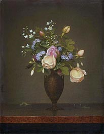Still Life with Flowers (Wildflowers in a Brown Vase), c.1860/65 by Martin Johnson Heade | Painting Reproduction