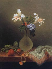 A Vase of Corn Lilies and Heliotrope, Undated by Martin Johnson Heade | Painting Reproduction
