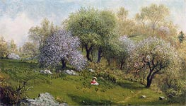 Girl on a Hillside, Apple Blossoms, 1874 by Martin Johnson Heade | Painting Reproduction