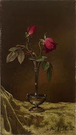 Three Red Roses in a Metal Vase on Gold Velvet | Martin Johnson Heade | Painting Reproduction