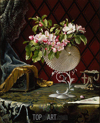Still Life with Apple Blossoms in a Nautilus Shell, 1870 | Martin Johnson Heade | Painting Reproduction