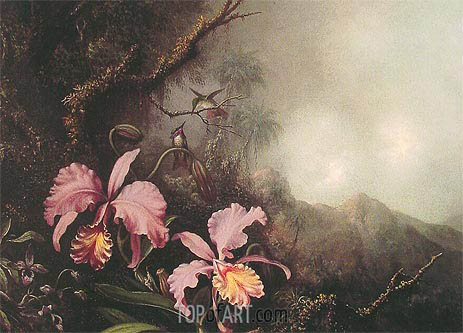 Two Orchids in a Mountain Landscape, c.1870 | Martin Johnson Heade | Painting Reproduction