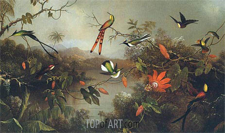 Tropical Landscape with Ten Hummingbirds, 1870 | Martin Johnson Heade | Painting Reproduction