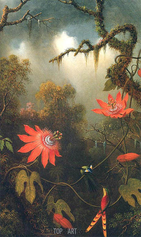 Two Hummingbirds Perched on Passion Flower Vines, c.1870/83 | Martin Johnson Heade | Painting Reproduction