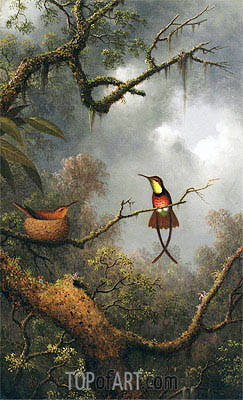 Crimson Topaz Hummingbirds Nesting in a Tropical Forest, c.1870/83 | Martin Johnson Heade | Painting Reproduction