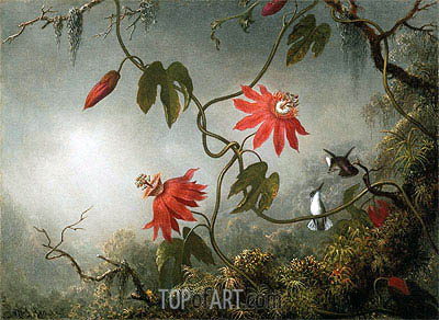 Passion Flowers and Hummingbirds, c.1870/83 | Martin Johnson Heade | Painting Reproduction