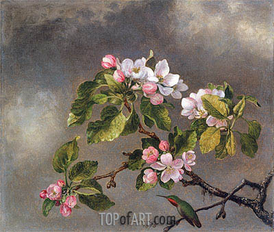 Hummingbird and Apple Blossoms, 1875 | Martin Johnson Heade | Painting Reproduction