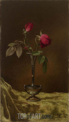 Three Red Roses in a Metal Vase on Gold Velvet, c.1883/00 | Martin Johnson Heade | Painting Reproduction