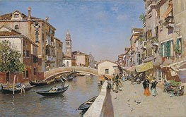 San Lorenzo River with the Campanile of San Giorgio dei greci, Venice, c.1900 by Martin Rico y Ortega | Painting Reproduction