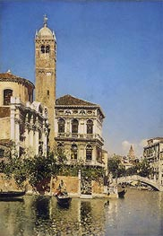 A Venetian Canal Scene | Martin Rico y Ortega | Painting Reproduction