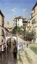A Venetian Canal Scene, undated by Martin Rico y Ortega | Painting Reproduction