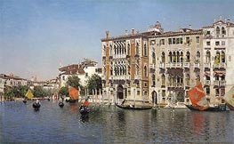 A View of Palazzo Cavalli and Palazzo Barbaro on the Grand Canal | Martin Rico y Ortega | Gemälde Reproduktion