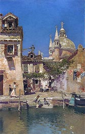 Venetian Canal Scene, undated by Martin Rico y Ortega | Painting Reproduction