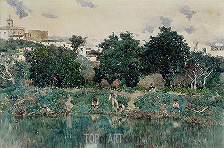 Alcalá: The Banks of the Guadaíra River, 1871 | Martin Rico y Ortega | Painting Reproduction