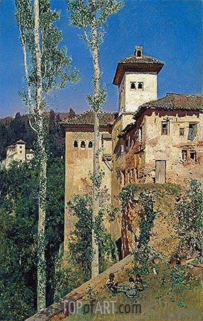 The Ladies' Tower at the Alhambra, 1871 | Martin Rico y Ortega | Painting Reproduction