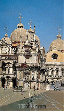 Courtyard of the Palace of the Dux of Venice, 1883 | Martin Rico y Ortega | Painting Reproduction