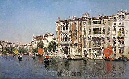 A View of Palazzo Cavalli and Palazzo Barbaro on the Grand Canal, undated | Martin Rico y Ortega | Gemälde Reproduktion