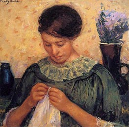 Woman Sewing, c.1913/14 von Cassatt | Gemälde-Reproduktion