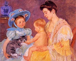 Children Playing with a Cat, 1908 von Cassatt | Gemälde-Reproduktion