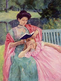 Augusta Reading to Her Daughter, 1910 von Cassatt | Gemälde-Reproduktion