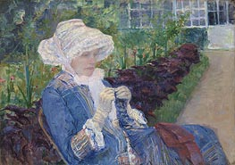 Lydia Crocheting in the Garden at Marly, 1880 von Cassatt | Gemälde-Reproduktion