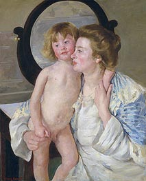 Mother and Child (The Oval Mirror) | Cassatt | Painting Reproduction