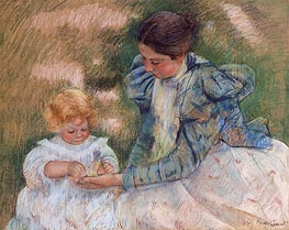 Mother Playing with Child, c.1897 von Cassatt | Gemälde-Reproduktion