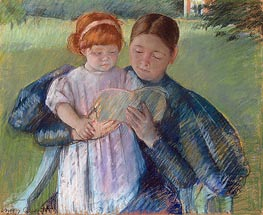 Nurse Reading to a Little Girl, 1895 von Cassatt | Gemälde-Reproduktion