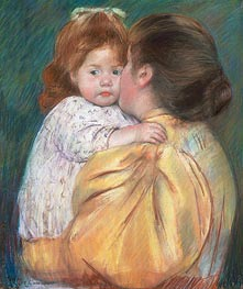 Mother and Child (Maternal Kiss) | Cassatt | Gemälde Reproduktion