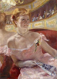 Woman with a Pearl Necklace in a Loge, 1879 by Cassatt | Painting Reproduction