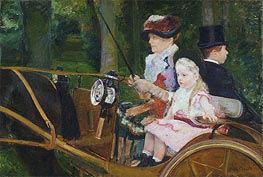 A Woman and a Girl Driving, 1881 by Cassatt | Painting Reproduction