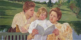 Family Group Reading, c.1901 by Cassatt | Painting Reproduction