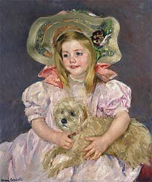 Smiling Sarah with Dog, c.1901 by Cassatt | Painting Reproduction