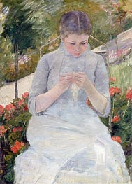 Young Girl Sewing in a Garden, c.1980/82 by Cassatt | Painting Reproduction