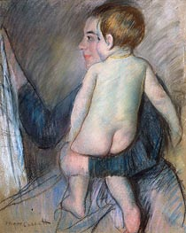 Young Woman Holding a Child (At the Window), c.1890 by Cassatt | Painting Reproduction
