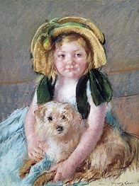 Sara with her Dog, c.1901 by Cassatt | Painting Reproduction