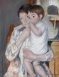 Woman and Child before a Washstand, 1889 by Cassatt | Painting Reproduction
