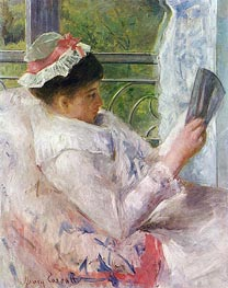 Lydia Cassatt Reading, 1878 by Cassatt | Painting Reproduction