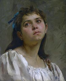 Pensive Roman Girl, undated by Cassatt | Painting Reproduction